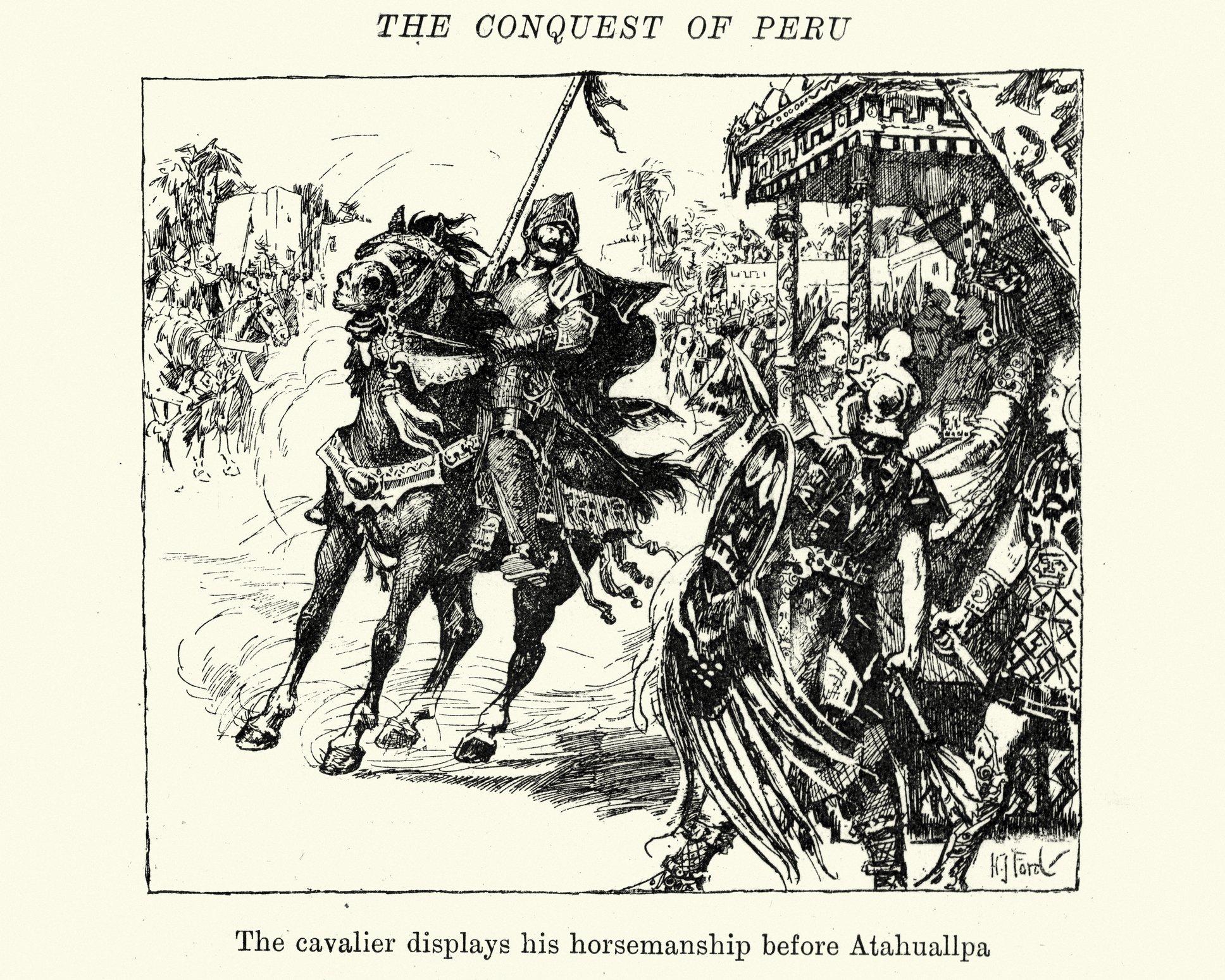 Ilustración de un conquistador en caballo frente a Atahualpa