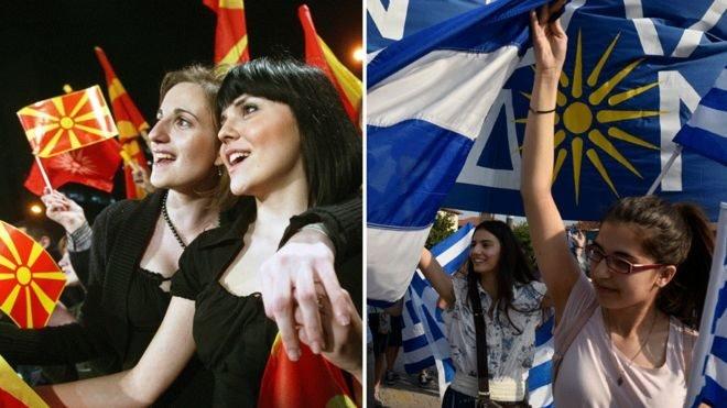 Hem Yunanistan hem Makedonya'da anlaşmayı protesto edenler sokaklardaydı.