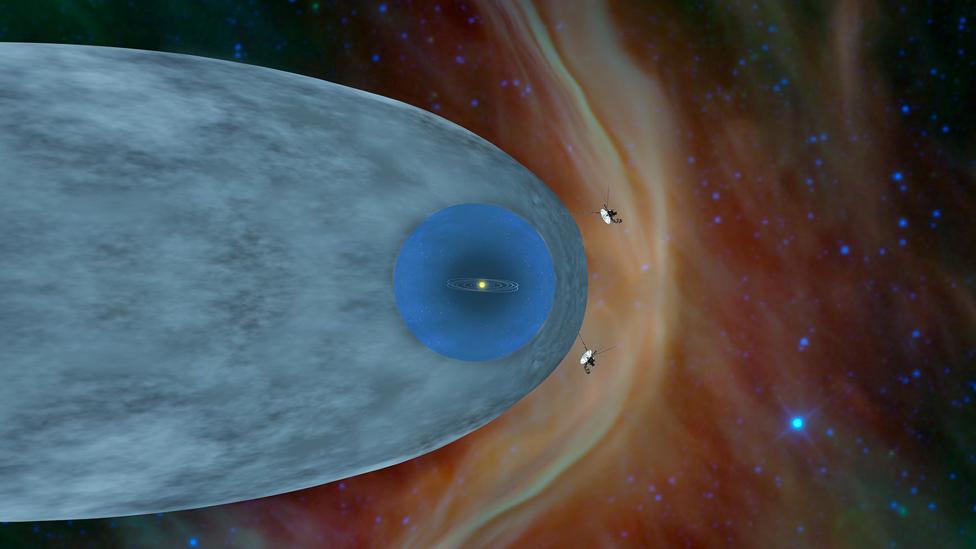 Ilustración de las naves Voyager fuera de la hieliósfera y en el espacio interestelar