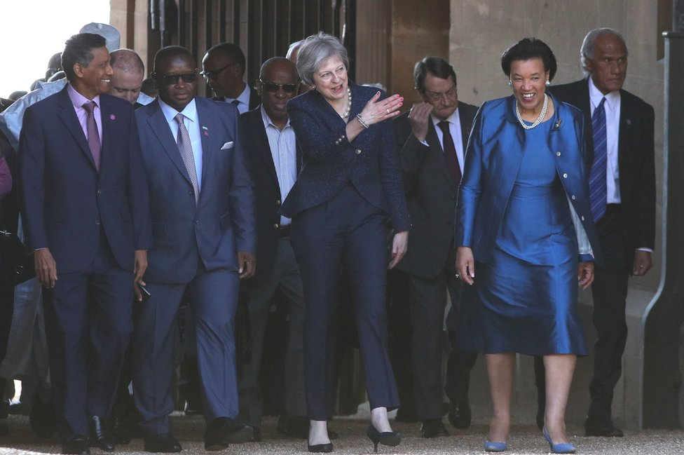 Theresa May with other heads of the Commonwealth