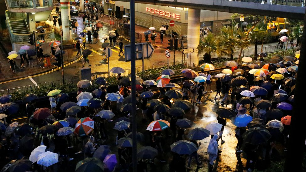 Protesters march to demand democracy and political reform, in Hong Kong, August 18, 2019