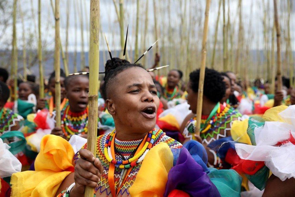 """من يتبعون تقاليد """"الزولو"""" يقيمون احتفالات """"ريد"""" الراقصة في قصر """"إنيوكيني"""" لاستعراض القيم العائلية في مواجهة انتشار فيروس الإيدز ةحمل المراهقات."""