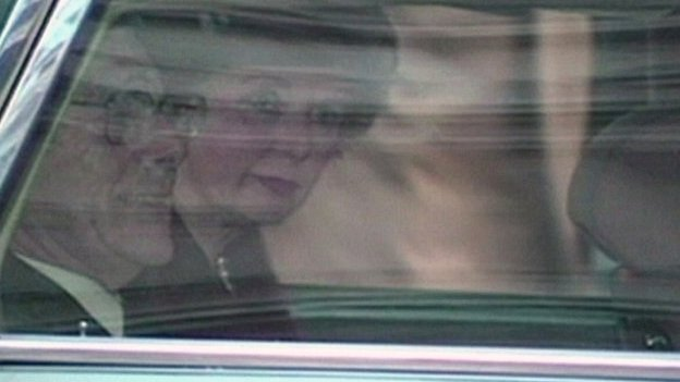 Margaret Thatcher cries as she leaves Downing Street after resigning as prime minister in November 1990
