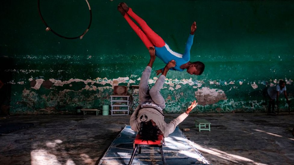 Members of the Tigray Circus rehearse in the city of Mekele, Ethiopia, on September 8, 2020.