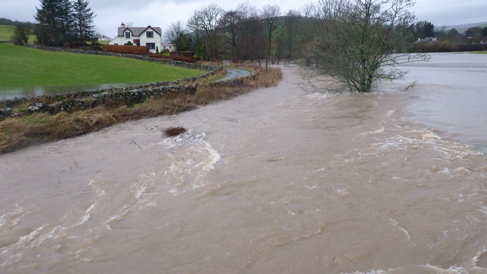 Flooding in Moniaive Village in Dumfries and Galloway