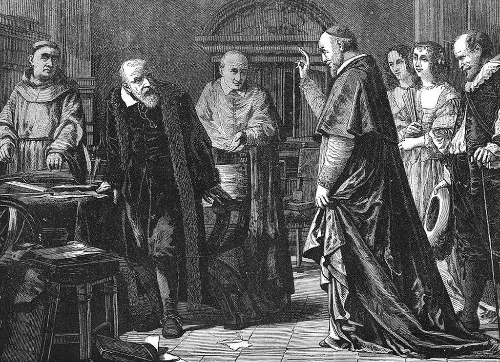 Grabado del juicio de la Inquisición contra Galileo
