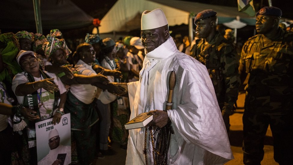 Yahya Jammeh with supporters