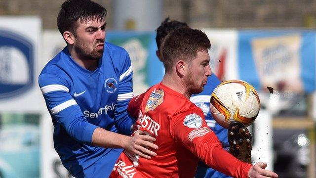 Match action from Portadown against Ballinamallard United