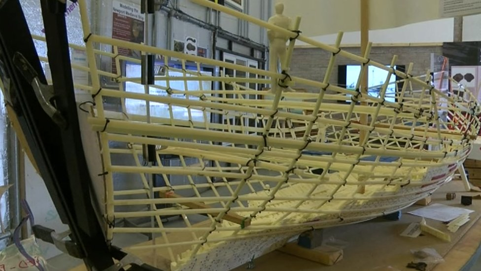 A model of the ship can be seen