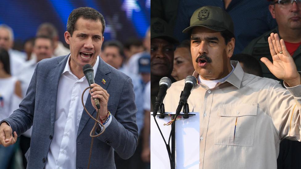 Foto dividida: Juan Guaidó a la izquierda y Nicolás Manuro a la derecha.