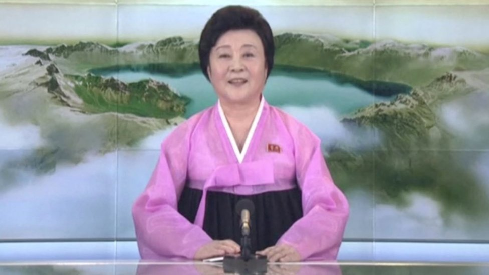 A presenter makes a special announcement on North Korea