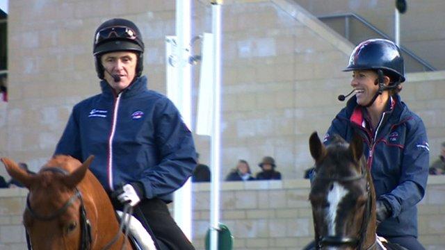 AP McCoy tries dressage with Charlotte Dujardin at Cheltenham