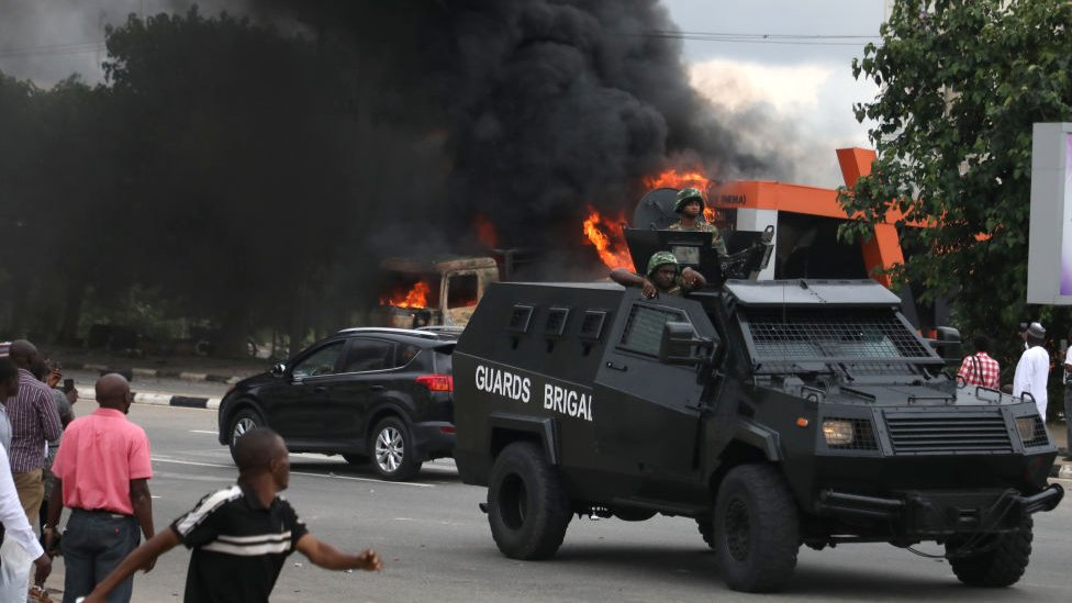 Nigerian soldiers patrol the streets of Abuja during clashes between members of the Islamic Movement of Nigeria and policemen in July 2019