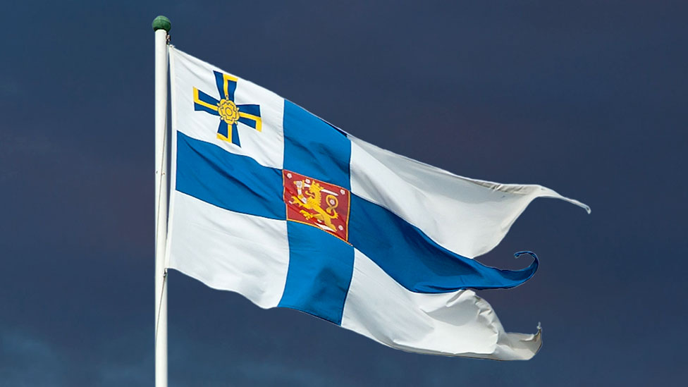 Flag of the president of Finland fluttering in the wind