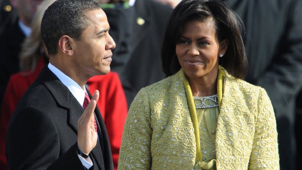 Barack Obama is sworn in (being inaugurated) by Chief Justice John Roberts as the 44th president of the United States