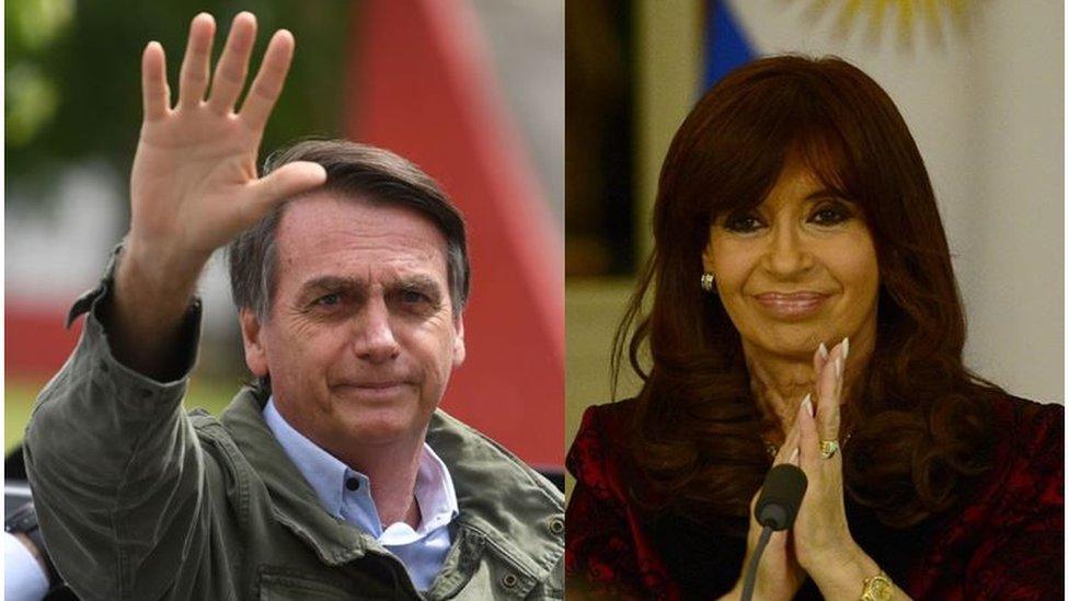 Jair Bolsonaro y Cristina Fernández de Kirchner.