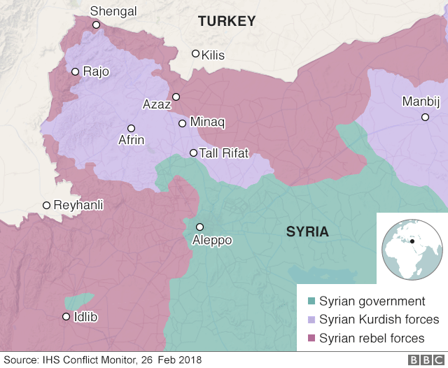 Map showing control of north-western Syria on 26 February 2018