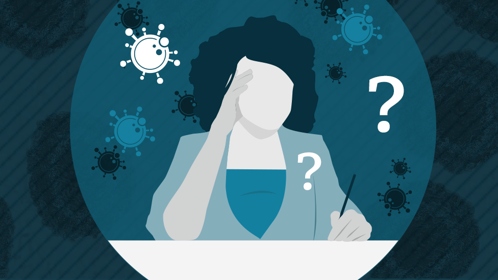illustration of woman thinking, surrounded by virus cells