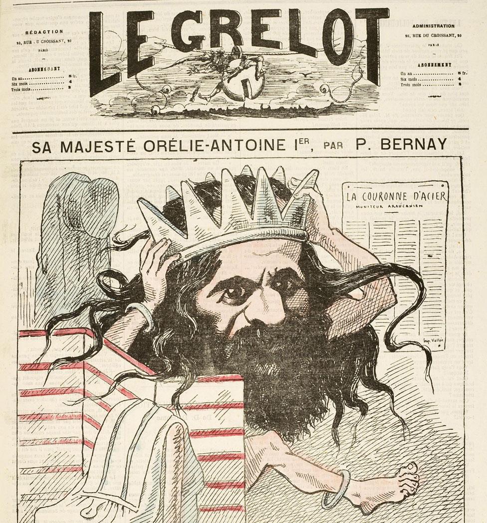 """Un diario de 1872 con una caricatura del """"rey"""" Tounens."""