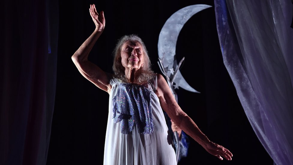 100-year-old dancer and choreographer Eileen Kramer performing during a full dress rehearsal of her latest work, The Early Ones, at a theatre in north Sydney. Starring in music videos at the age of 100, Eileen Kramer is probably the oldest working dancer and choreographer in Australia