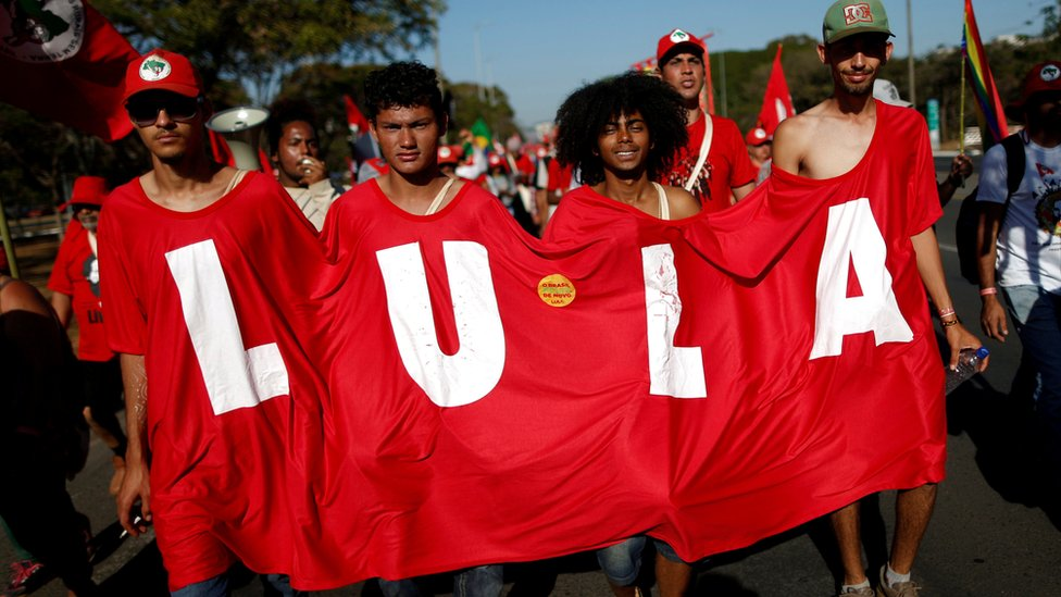 Supporters of Brazil's former President Luiz Inácio Lula da Silva at a Free Lula March in Brasilia, Brazil, 14 August 2018