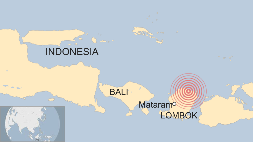 Map of Indonesia showing Lombok, Bali and the earthquake epicentre