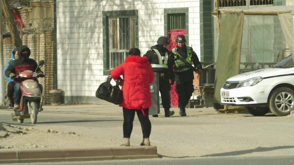 Uighurs and police in Xinjiang, January 2018