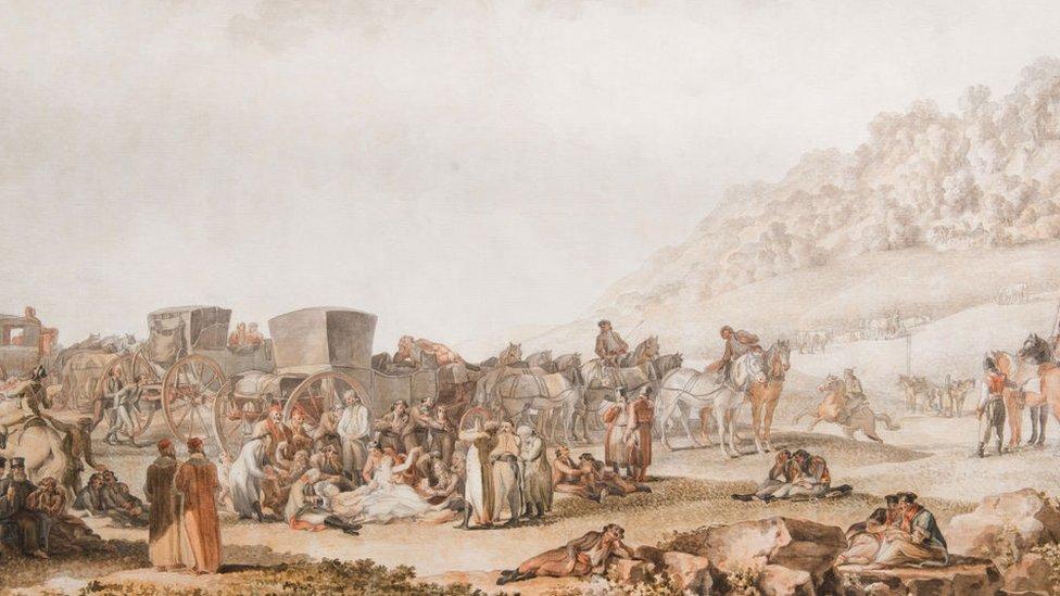 La muerte del príncipe Gregorio Potemkin en la estepa de Besarabia, 1791. Encontrado en la Colección del Museo de Historia del Estado, Moscú. Artista Ivanov, Mikhail Matveevich (1748-1823).
