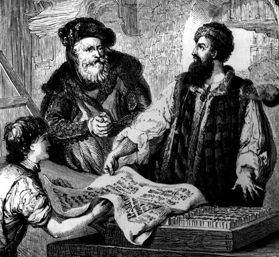 Johannes Gutenberg with his partner Johann Fust examine the first proof from moveable types on the press they set up together, circa 1455.
