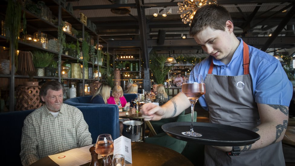 Barman serves drinks at Scotts in South Queensferry as pubs, bars and restaurants across Scotland opened indoor areas