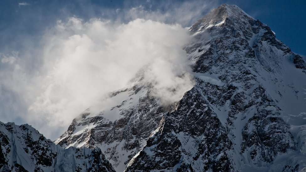 This view shows the upper part of K2 as seen from the broad peak base camp at 4,850m