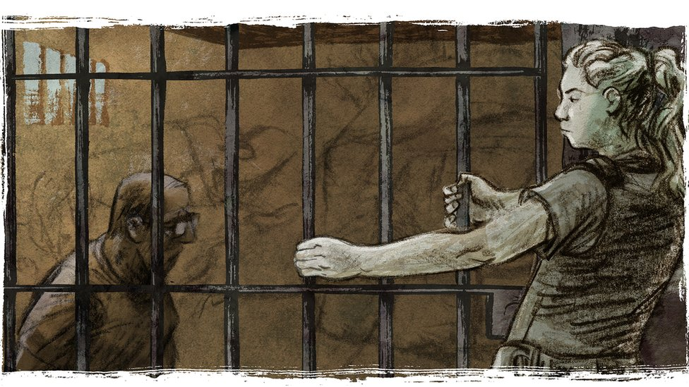 This illustration represents the moment Tabata locked up her rapist in jail
