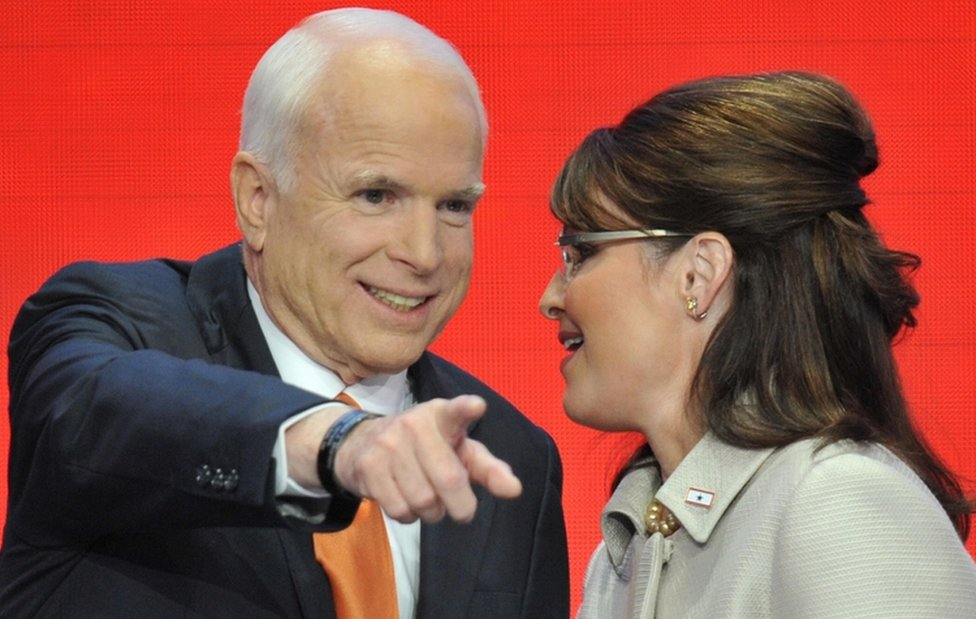 John McCain pictured in 2008 with his presidential campaign running mate Sarah Palin