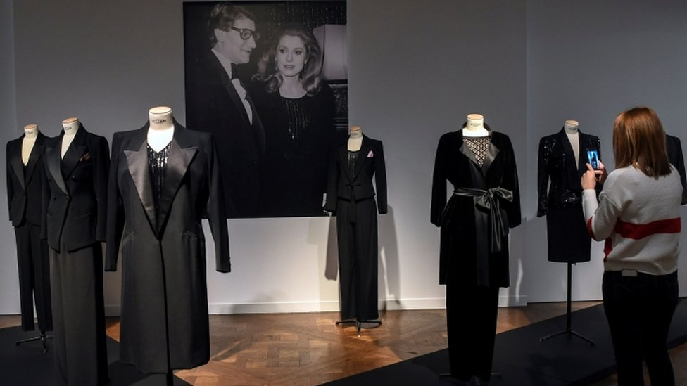 The sale includes black tuxedo jackets in the style Yves Saint Laurent was famous for