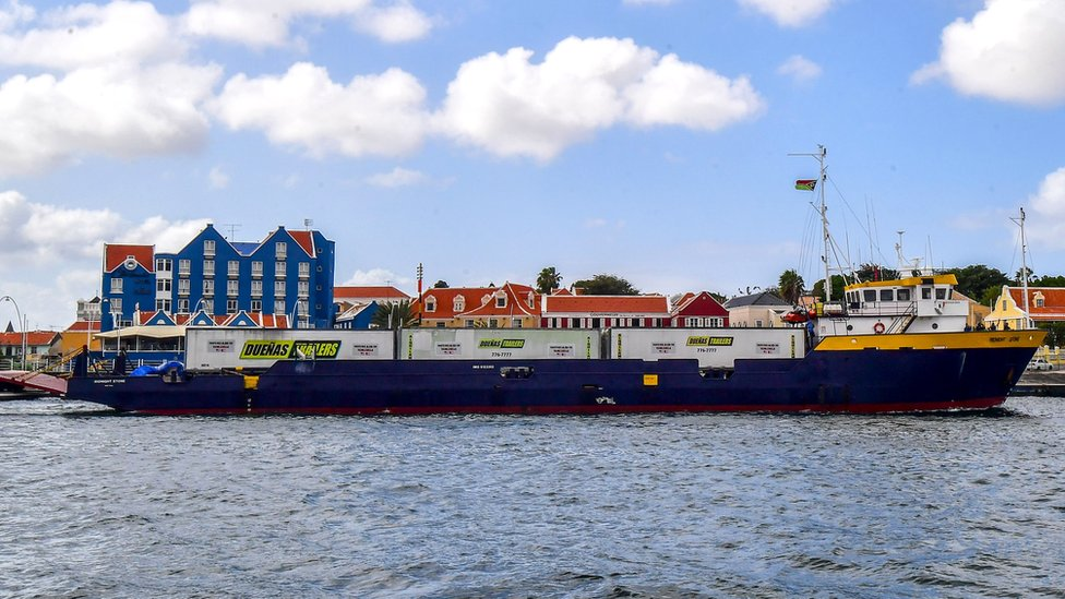 The Midnight Stone supply ship arrives from Puerto Rico with aid to Venezuela, at the port of Willemstad, Curaçao, Netherlands Antilles, on February 24, 2019