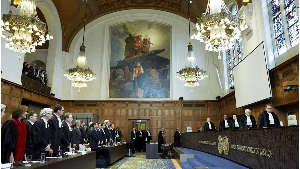 The interior of the ICJ courtroom in The Netherlands