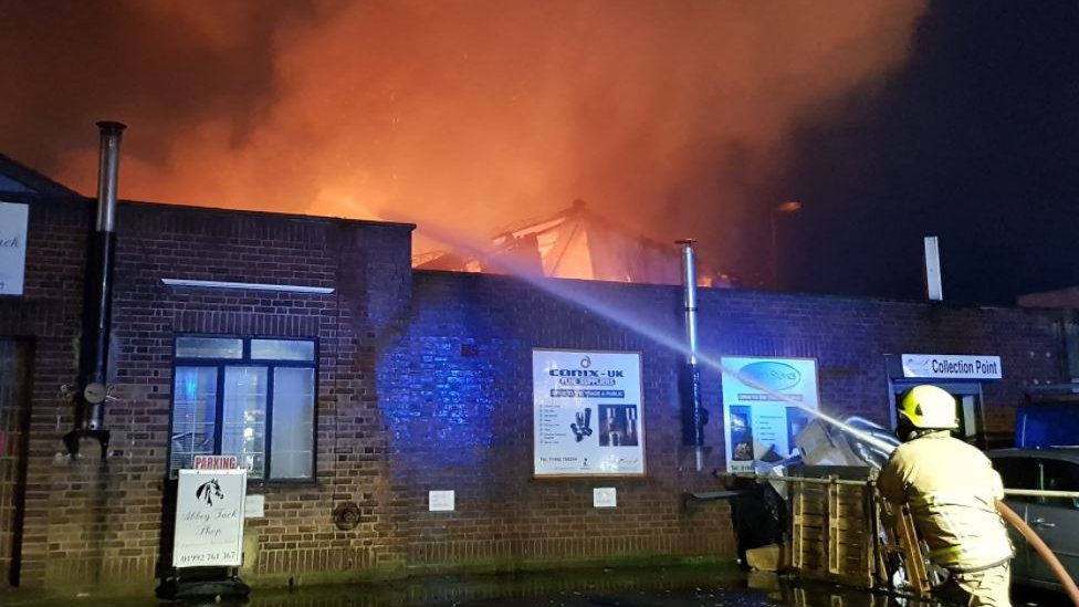 Fire at industrial unit in Waltham Abbey
