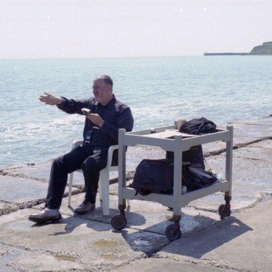Artist Spencer Tunick on Folkestone beach