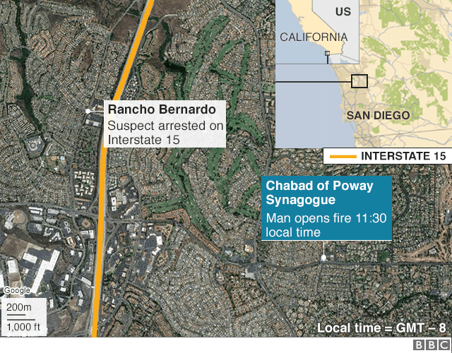 Map showing location of synagogue attack