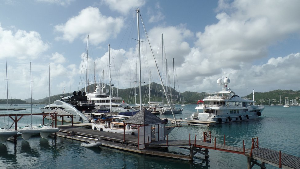Super yachts docked in Antigua