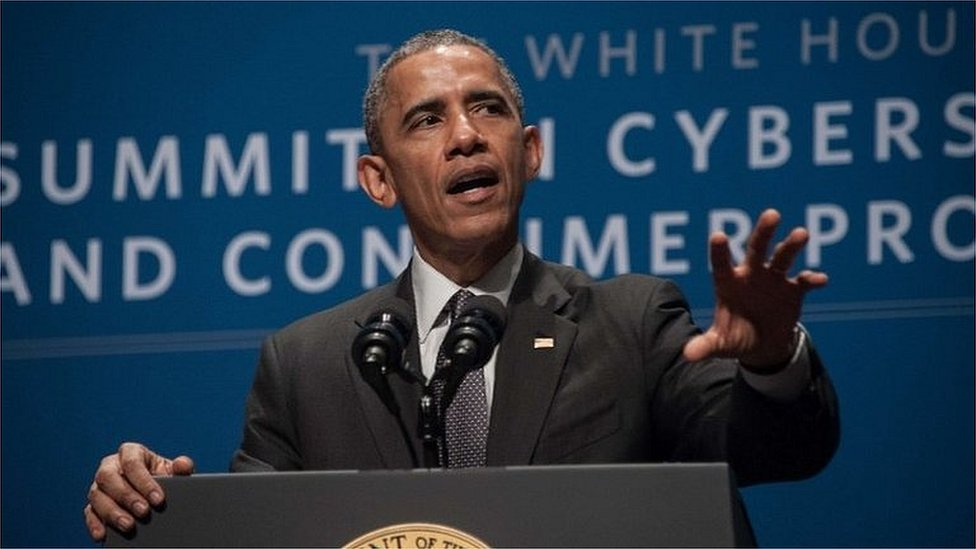US President Barack Obama speaks at the White House Summit on Cybersecurity and Consumer Protection at Stanford University in Palo Alto 13 February 2015