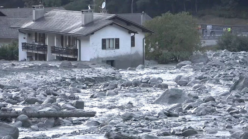 Village of Bondo in Switzerland, August 23, 2017 after a landslide struck it