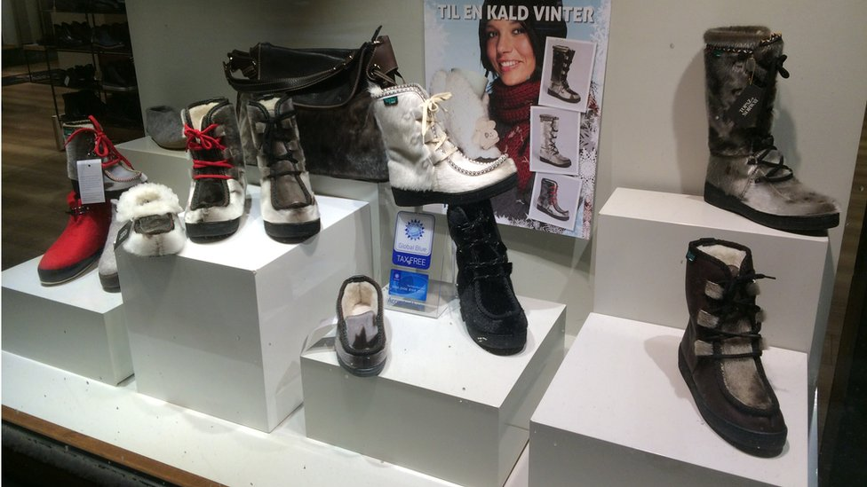 Seal skin boots on sale at a shop in Tromso, Norway