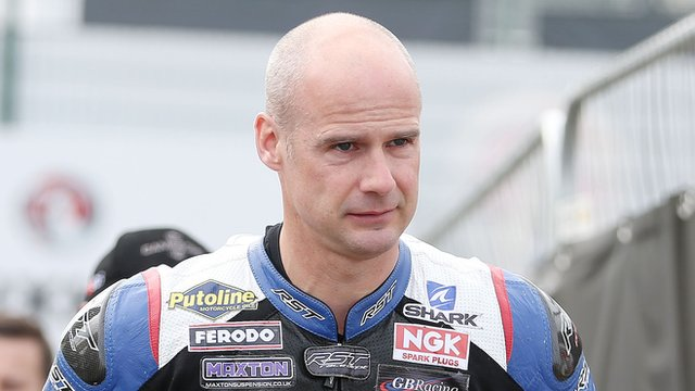 Ryan Farquhar crashed during a Supertwins race at the North West 200