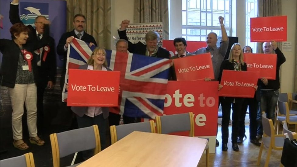 Leave campaigners celebrating in Poole