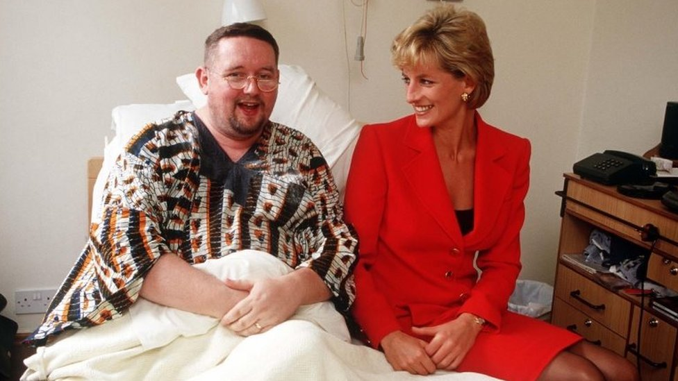 Princess Diana visiting a patient at the London Lighthouse, a centre for people affected by HIV and AIDS, in London, October 1996