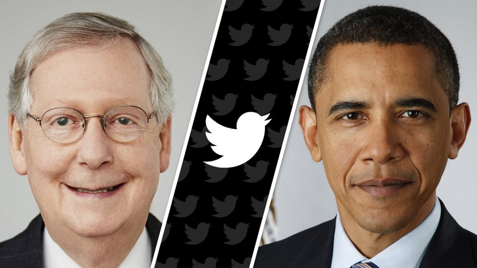A split screen shows Mitch McConnell, left, and Barack Obama, right, with the Twitter logo between them