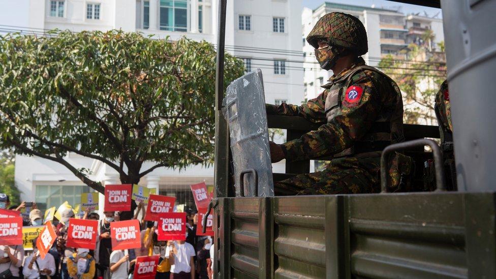 Kudeta, Myanmar, protes, Yangon, junta militer
