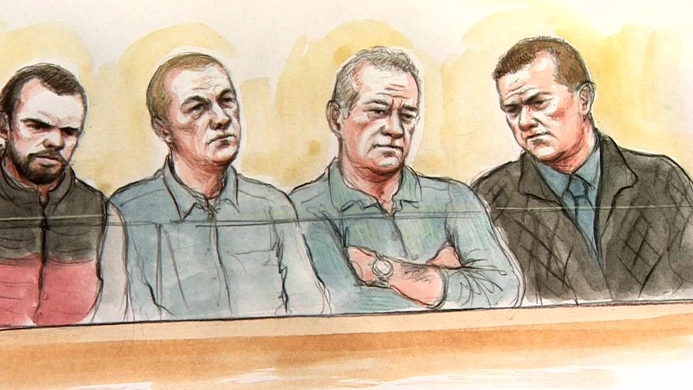 Court sketch of the defendants: Layton Davies, George Powell, Paul Wells and Simon Wicks