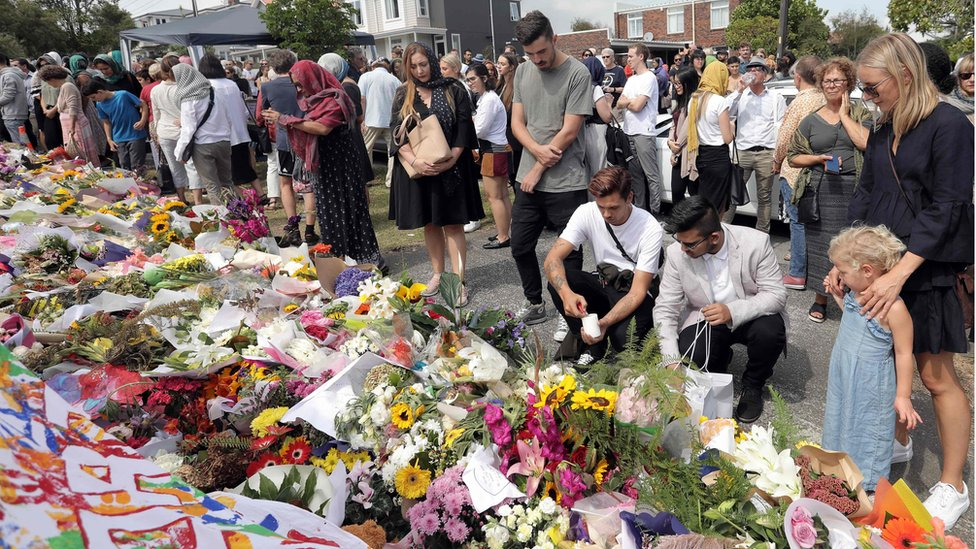 Floral tributes for the victims of the Christchurch mosque attacks